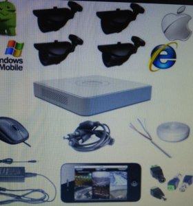 Комплект видеонаблюдения на 4 уличных видеокамеры