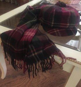 Комплект- шарф, кепка шестиклинка. Шерсть.