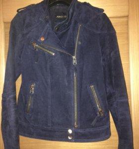 Куртка замшевая, темно-синяя, р-р xs