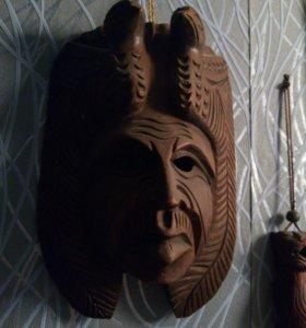 Маска декоративная на стену. Деревянная