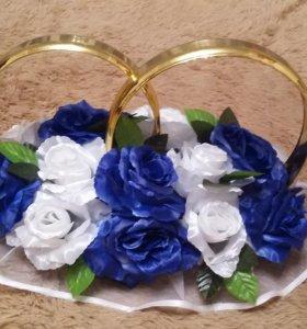 Свадебные украшения на машину кольца в прокат
