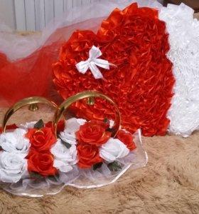 Свадебные украшения сердца на машину в прокат