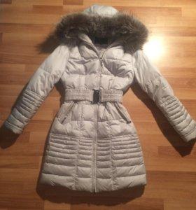 Зимний пуховик,натуральный мех, одевала пару раз