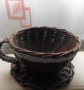 Плетеная чашка- конфетница