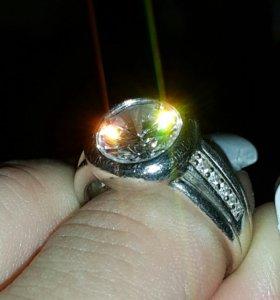 Кольцо серебро 925, фианит-сапфир