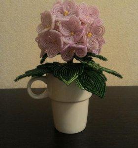 Фиалка цветы бисер подарок интерьер