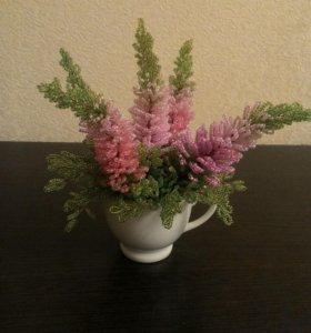 Цветы вереск бисер подарок праздник интерьер