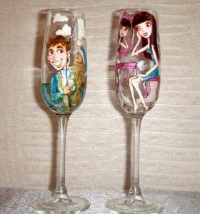 Подарок на свадьбу,бокалы под шампанское