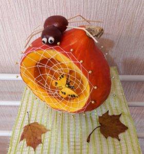 """Осенняя поделка """"Паук на тыкве"""" для сада, школы"""