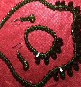 Комплект ожерелье, серьги, браслет