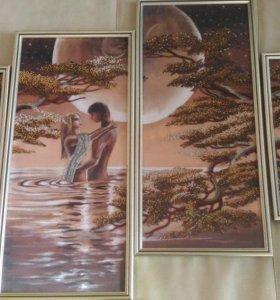 Красивый подарок. Картина бисером. Двое под луной.