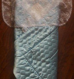 Одеяло конверт с кружевом на выписку для мальчика