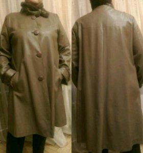 Кожаное пальто 56-58р