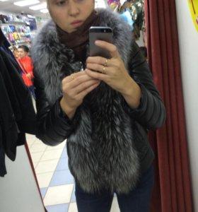 Меховая куртка чернобурка  2в1