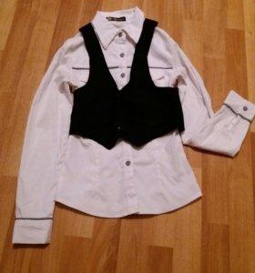 Школьная блузка с желеткой