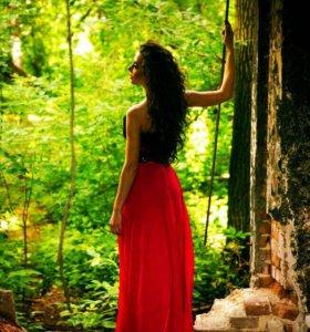 Длинное красное платье )