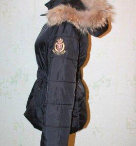 Осенняя куртка пальто с натуральным мехом