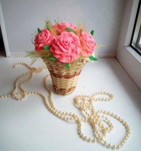 Корзинки с цветами из бумаги