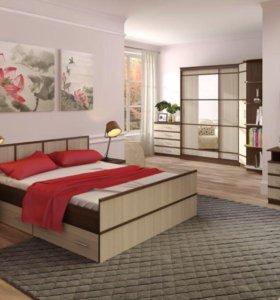 Кровать с матрасом с ящиками. НОВАЯ