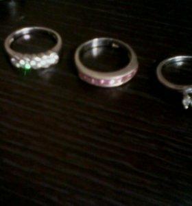 Колечки серебро янтарь и фианит