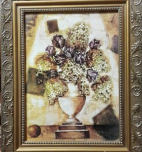 """картина в интерьер """"Сирень и тюльпаны"""""""