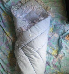 Одеяло конверт на выписку тёплый на синтепоне