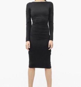 Платье-миди темно-темно серое