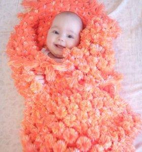 Плед, шарф из помпонов
