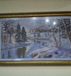 Картина крестиком, зимний пейзаж