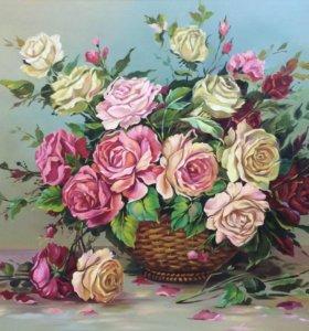 Картина масло Розы