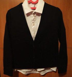 ORBY Рубашка+кардиган на мальчика, р.122-128