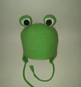 Вязаная шапка Лягушка на заказ