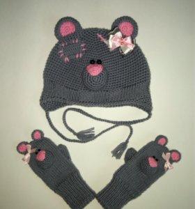 Вязаная шапка Мишка-Тедди на заказ