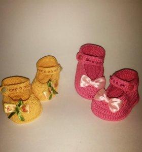 Вязаные пинетки Туфельки на заказ