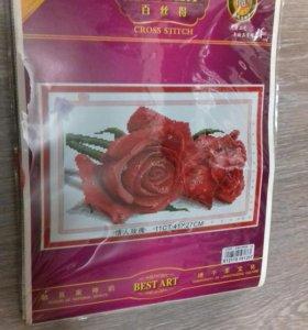 Наборы для вышивания крестиком Роза и Собачки