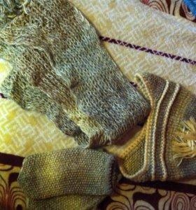Комплект: шерстяные шапка, шарф, рукавички