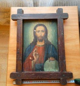 Икона 19 век Господь Вседержитель антиквариат.