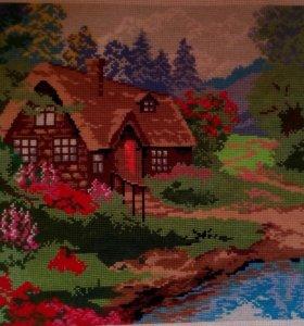 """Картина вышитая крестиком """"Дом в лесу"""""""