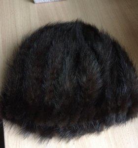 Норковая вязаная шапочка