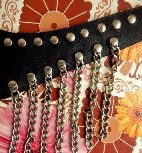 Кожаный ошейник с цепями