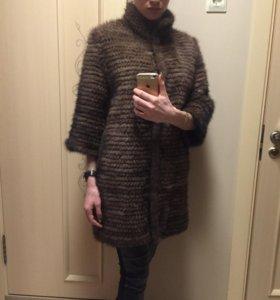 Пальто из вязанной норки «Елена»