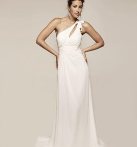 Белое платье в пол на одно плечо
