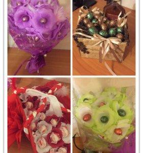 Букеты из конфет, цыфарки, оформление праздников