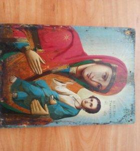 Икона 19 века Тихвинская Богородица антиквариат
