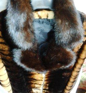 🌋мутон  с норкой шубка пальто 42- 44 р