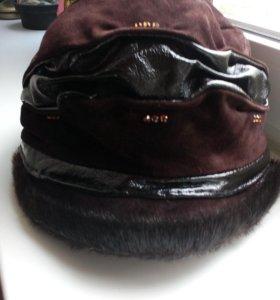 Натуральная замшевая бондана -кепка