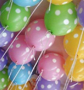 30 Гелиевых шаров в горошек Доставка