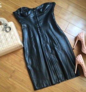 Кожаное платье S