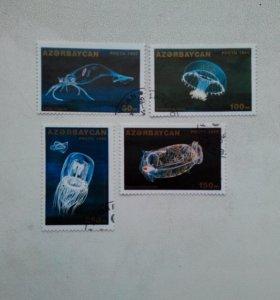 Марки Азербайджана 1995г медузы