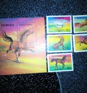 Марки Танзании 1993 лошади